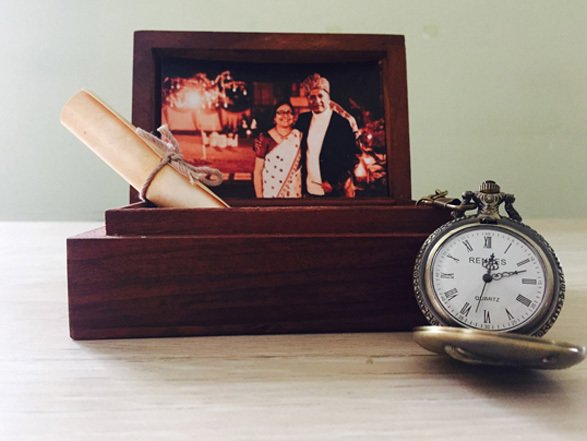 Classy wooden box hamper with personalized picture and a message
