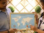 A World Map on the wooden canvas