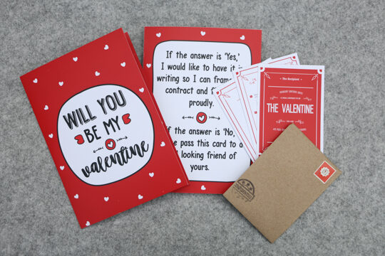 Valentine greeting card with legally yours contract